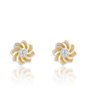 Boucles d'oreilles Soleil en or bicolor 18K