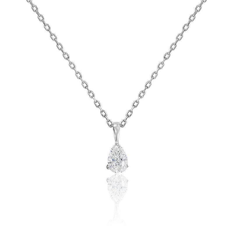 Collier solitaire diamant goutte 3 griffes HSI & or blanc
