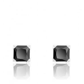 Boucles d'oreilles Oxyde noir carré mini or blanc 9K
