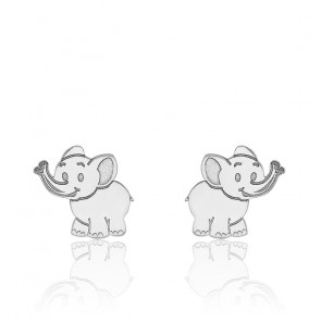 Boucles d'oreilles élephant or blanc 9K
