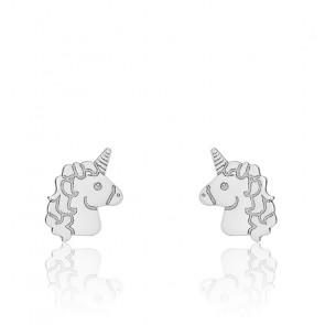 Boucles d'oreilles licorne or blanc 9K