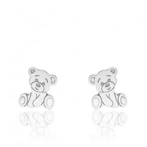 Boucles d'oreilles ourson or blanc 9K