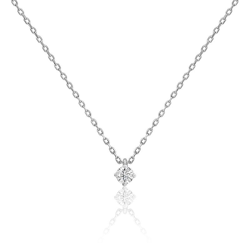 Collier diamant solitaire 4 griffes HSI & or blanc