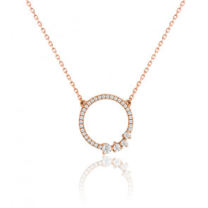 Collier cercle diamants & or rose 18K