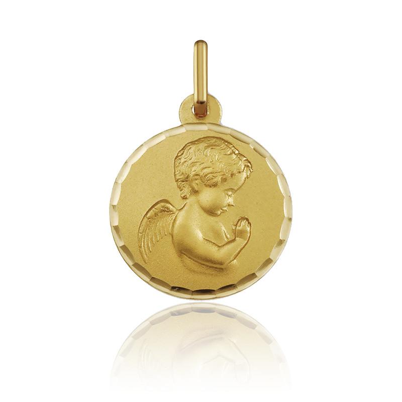 Médaille ange en prière facetté or jaune 18K