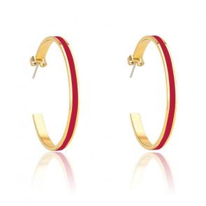Boucles d'oreilles bangle rouge velours