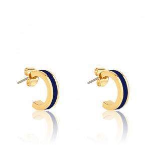 Boucles d'oreilles mini créoles bangle bleues nuit
