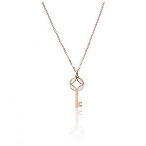Collier clé en acier inoxydable doré rose, JF03195791