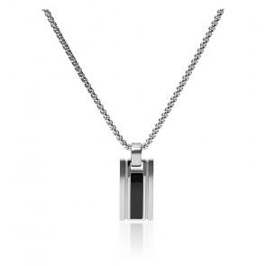 Collier géométrique en agate noir et acier inoxydable argenté, JF03173040