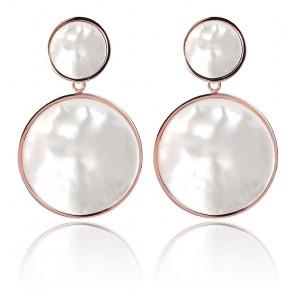 Boucles d'oreilles à double disque avec pierres naturelles blanches