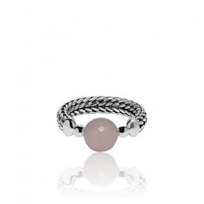 Bague batas sphere rose quartz argent 925