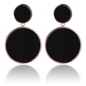 Boucles d'oreilles à double disque avec pierres naturelles noires