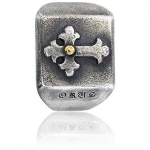 Bague chevalière croix argent