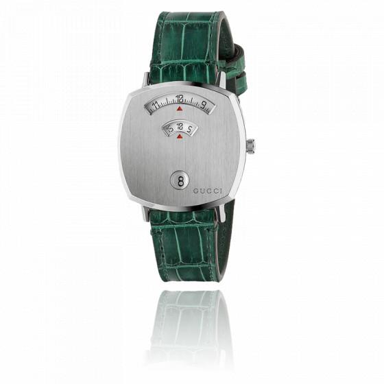 Montre Grip GG Acier lisse Alligator Vert  YA157404