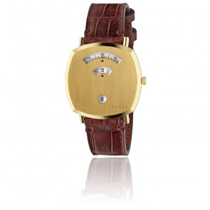 Montre Grip Acier PVD Or Cuir Alligator Bordeaux YA157413