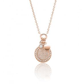 Collier pendentif en acier doré rose halo JF03265791