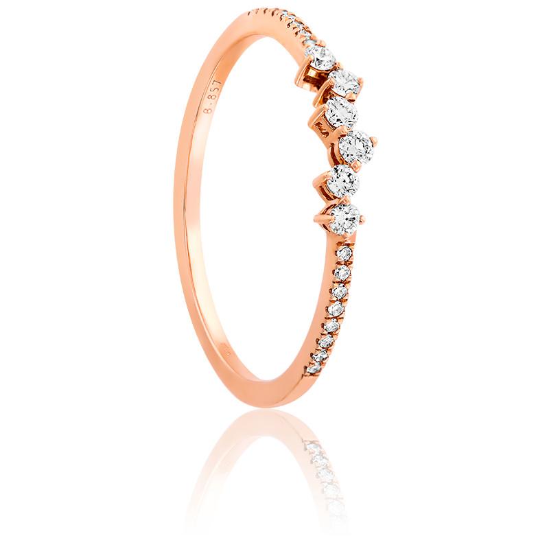 Bague rivière diamants & or rose 18K