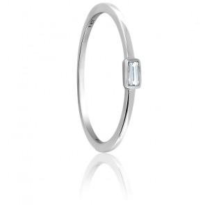 Bague solitaire diamant 0,06 ct & or blanc 18K