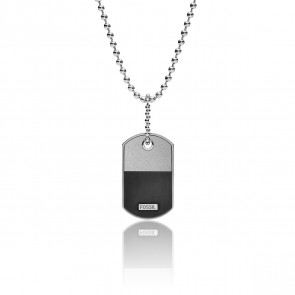 Collier médaillon acier argenté, JF03312040