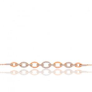 Bracelet ovales diamants 0,22 ct & or rose 18K