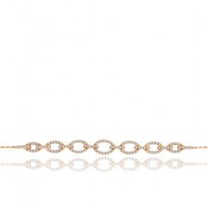Bracelet ovales diamants 0,32 ct & or rose 18K