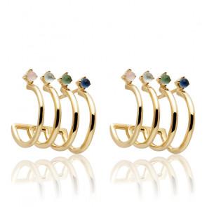 Boucles d'oreilles en or aqua