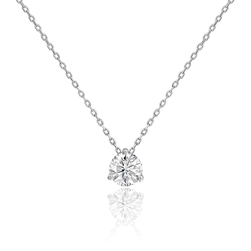 Collier diamant solitaire 3 griffes & or blanc