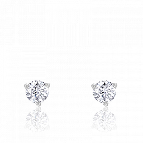 Puces d'oreilles diamant 3 griffes & or blanc