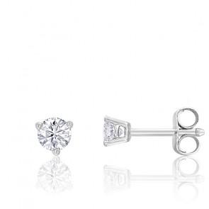 Puces d'oreilles diamant 3 griffes HP1 & or blanc