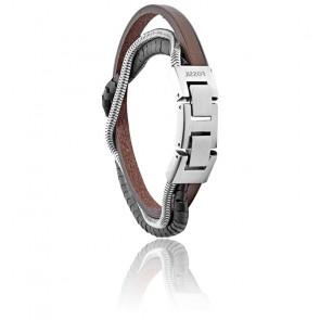 Bracelet multi-rangs en hématite et cuir marron, JF03178040