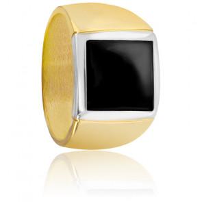 Chevalière onyx carrée noire & or jaune 9K