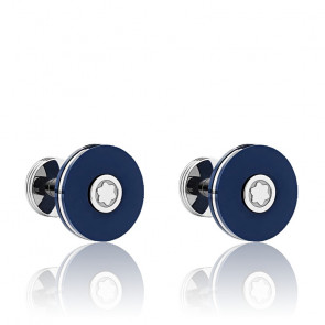 Boutons de manchette en acier inoxydable & résine bleue, 123812