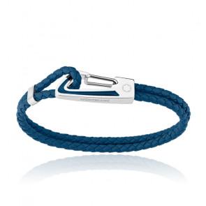 Bracelet cuir tressé bleu & acier