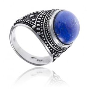 Chevalière argent rhodié & lapis lazuli