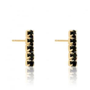 Boucles d'oreilles black kira dorées AR01-073-U