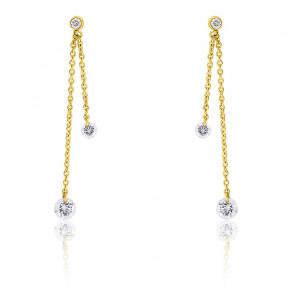 Boucles d'oreilles diamants percés double & or 18K