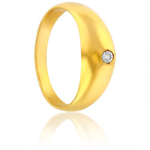 Bague jonc or jaune 18K & diamant 0,15ct