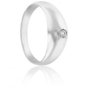 Bague jonc, Or blanc 18k & diamant 0,15ct