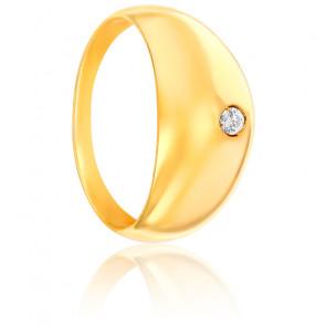Bague jonc, Or jaune 18K & diamant 0,05ct