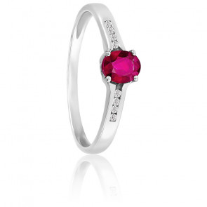 Bague or blanc 18K diamants & rubis