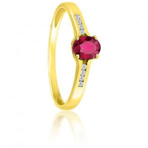 Bague, Or jaune 18K, Diamants & Rubis