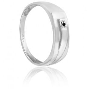 Chevalière or blanc 9K & diamant noir 0,025ct
