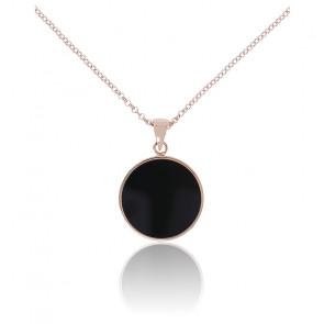 Collier disque moyen onyx noir