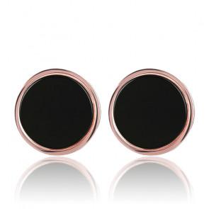 Boucles d'oreilles rondes bouton onyx noir