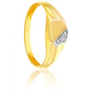 Chevalière ronde bicolore 9K & diamant