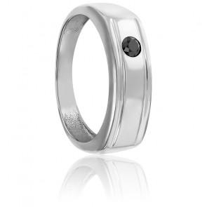 Chevalière or blanc 9K & diamant noir 0,15ct