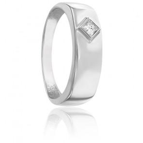 Chevalière or blanc 18K & diamant princesse