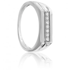 Chevalière or blanc 9K & diamants