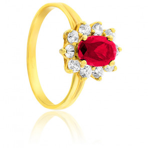 Bague or jaune 9K rubis synthèse & zirconiums