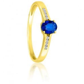 Bague ovale or jaune 18K saphir & diamant